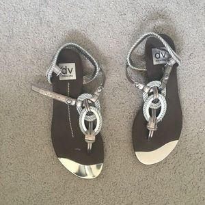 Dolce Vita Silver and pewter flat sandals